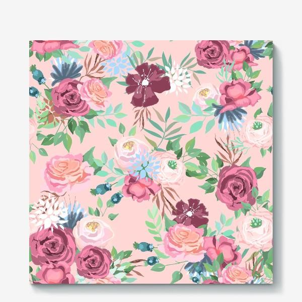 Холст «Цветочный принт на розовом фоне»
