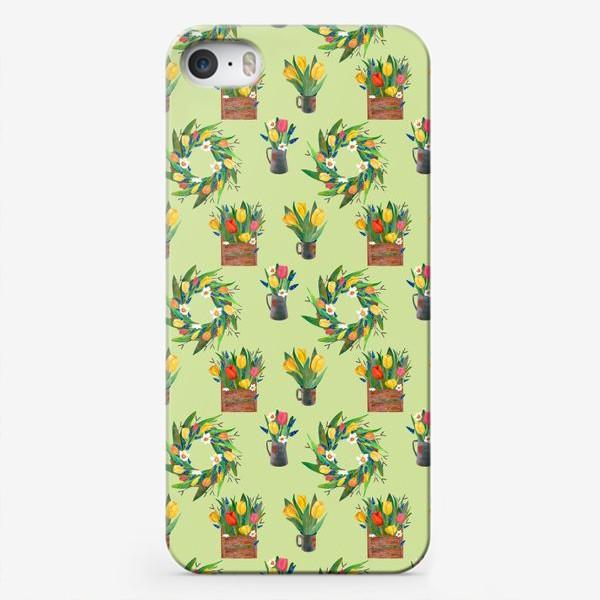 Чехол iPhone «Паттерн венок и композиции на зелёном фоне»
