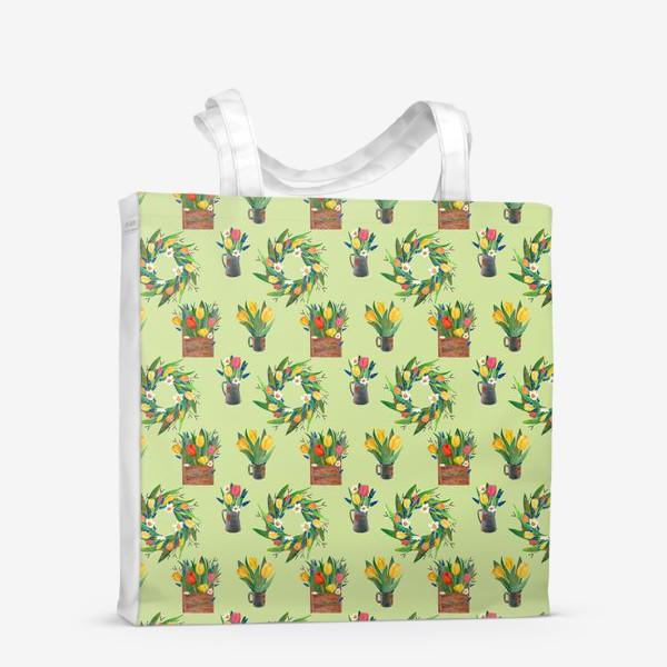 Сумка-шоппер «Паттерн венок и композиции на зелёном фоне»