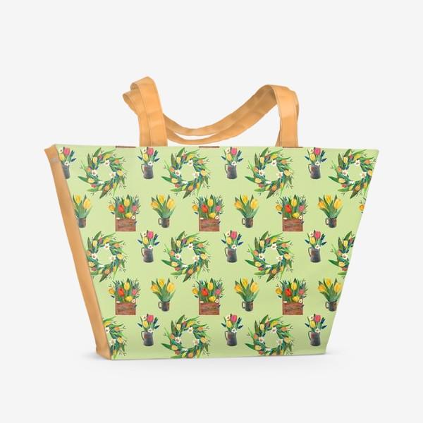 Пляжная сумка «Паттерн венок и композиции на зелёном фоне»