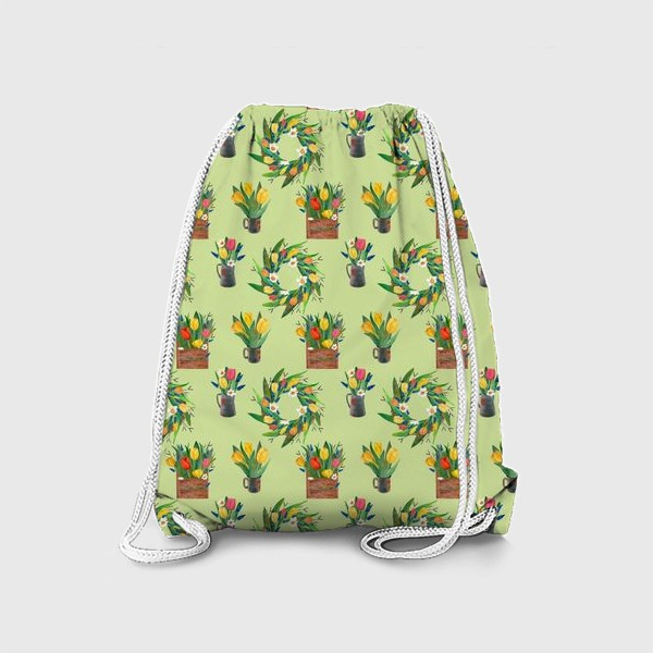 Рюкзак «Паттерн венок и композиции на зелёном фоне»