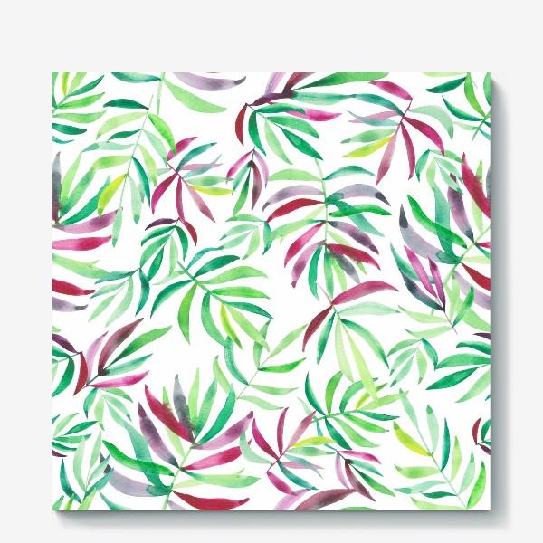 Холст «Акварельные тропики. Листья»
