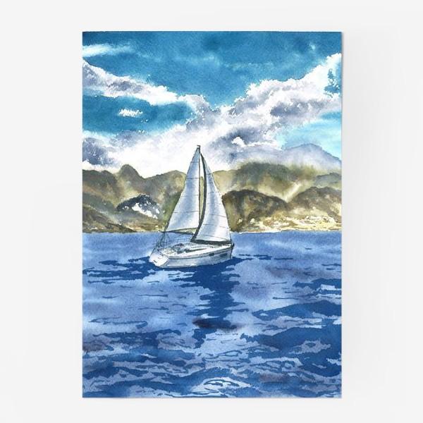 Постер «Пейзаж: Яхта у горных берегов»