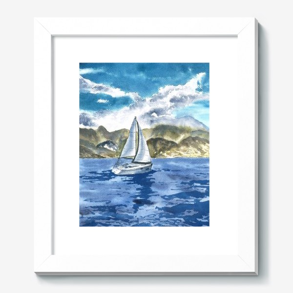 Картина «Пейзаж: Яхта у горных берегов»