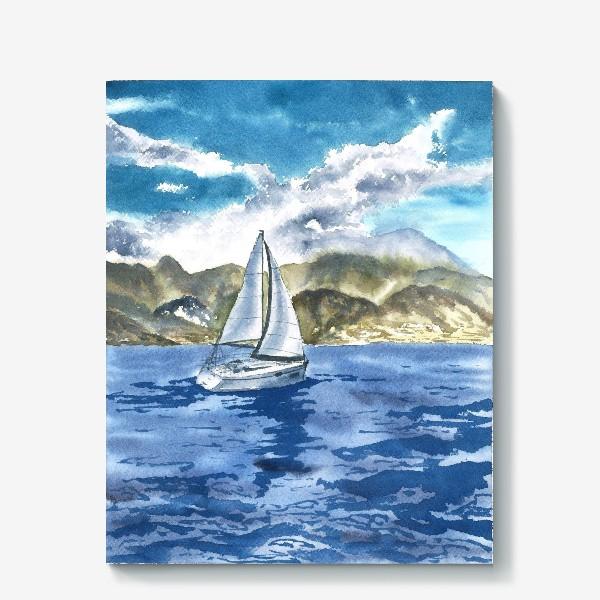 Холст «Пейзаж: Яхта у горных берегов»