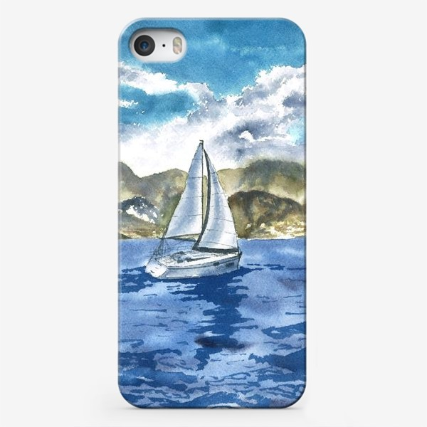 Чехол iPhone «Пейзаж: Яхта у горных берегов»