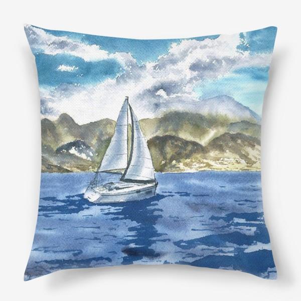 Подушка «Пейзаж: Яхта у горных берегов»