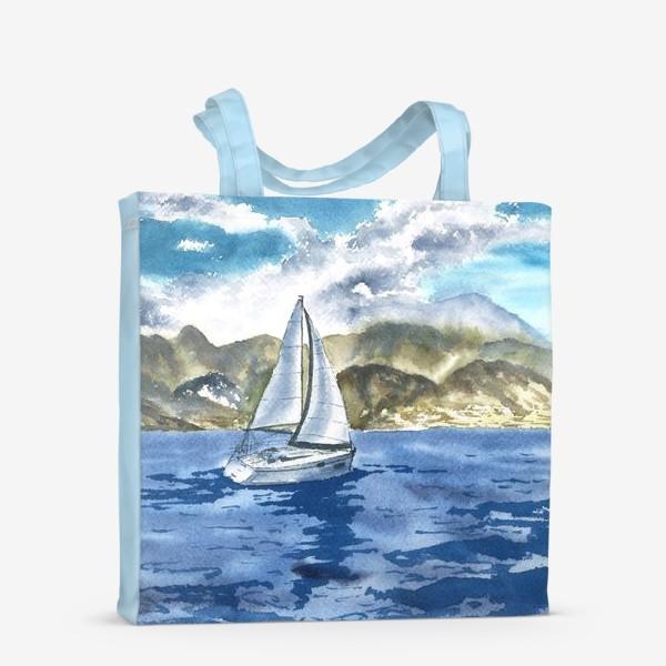 Сумка-шоппер «Пейзаж: Яхта у горных берегов»