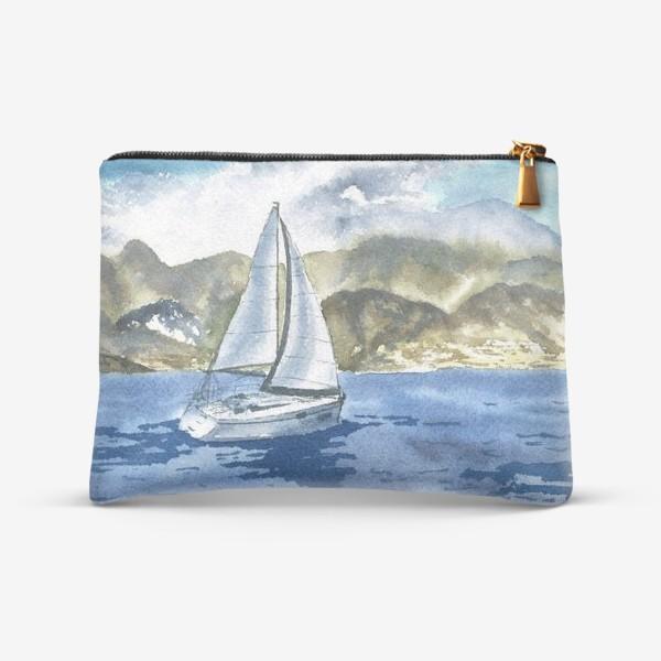 Косметичка «Пейзаж: Яхта у горных берегов»