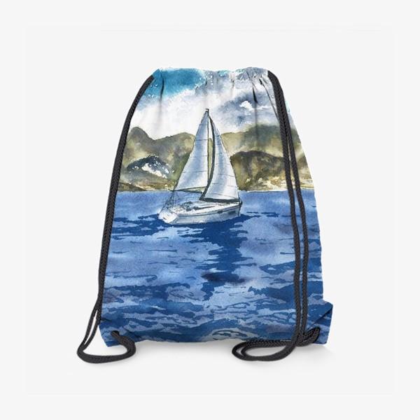 Рюкзак «Пейзаж: Яхта у горных берегов»