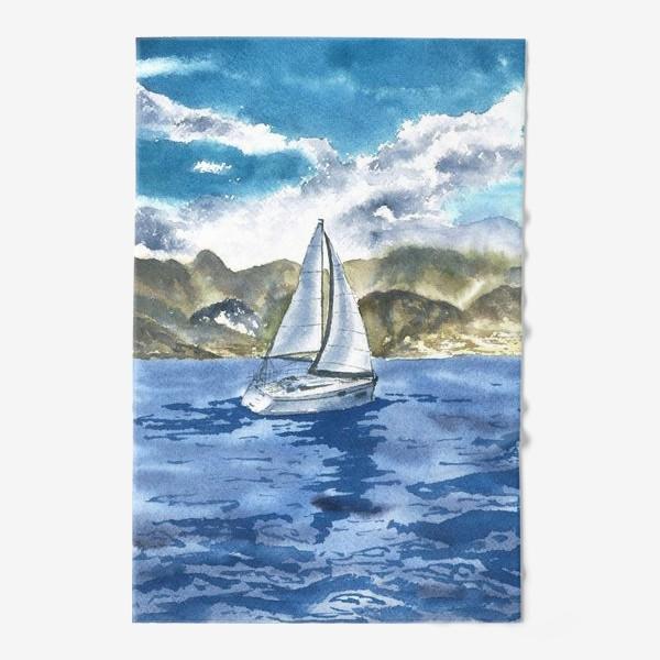 Полотенце «Пейзаж: Яхта у горных берегов»