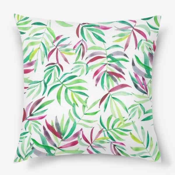 Подушка «Акварельные тропики. Листья»