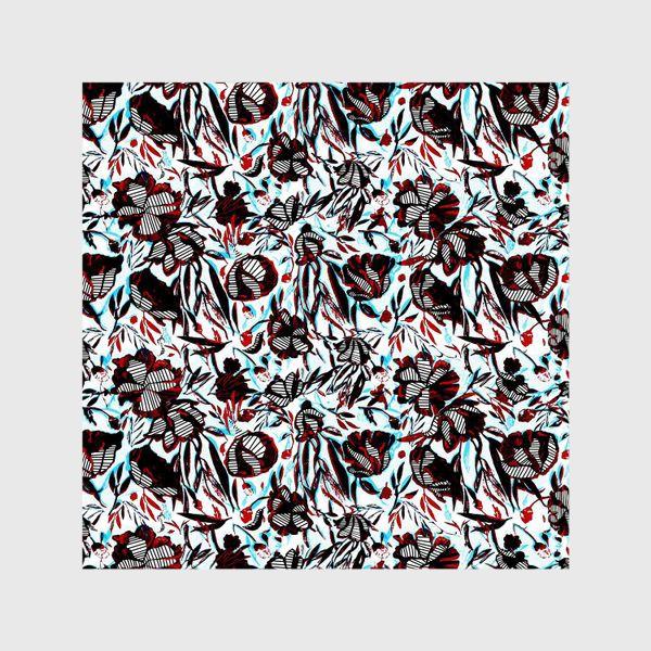 Шторы «Цветы паттерн голубой розовый белый черный»