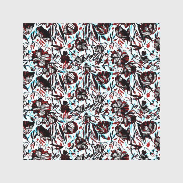 Скатерть «Цветы паттерн голубой розовый белый черный»