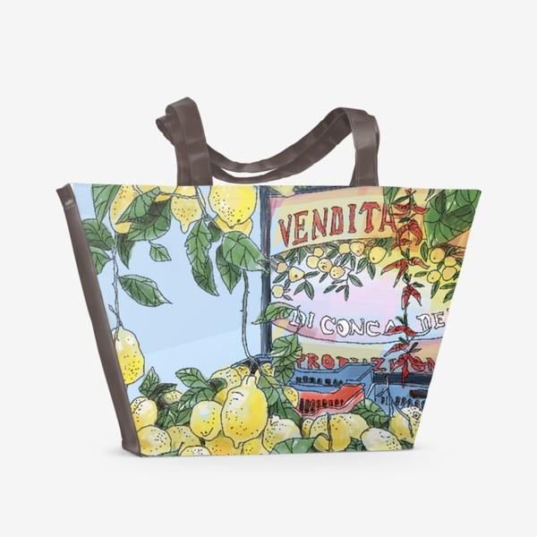 Пляжная сумка «Итальянские лимоны(цвет)»