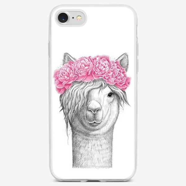 Чехол iPhone «Лама с пионами»
