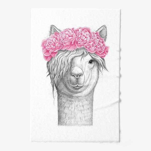 Полотенце «Лама с пионами»