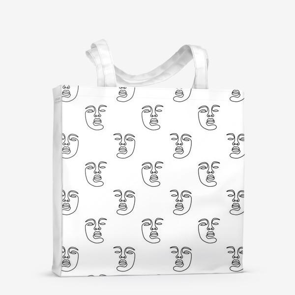 Сумка-шоппер «Паттерн с лицами»