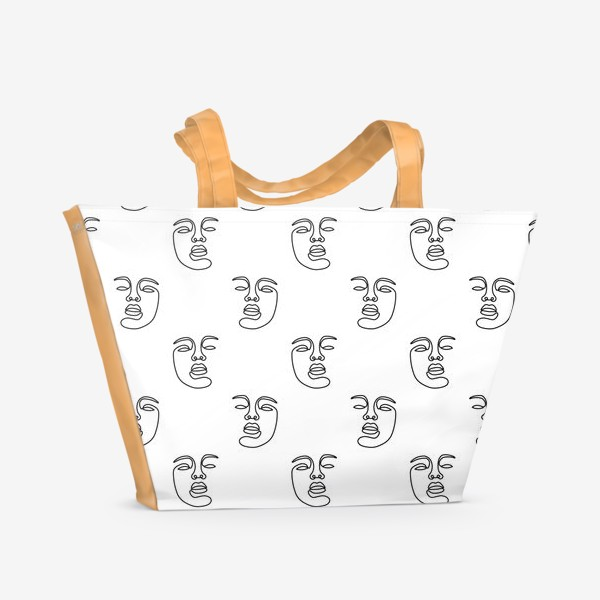 Пляжная сумка «Паттерн с лицами»