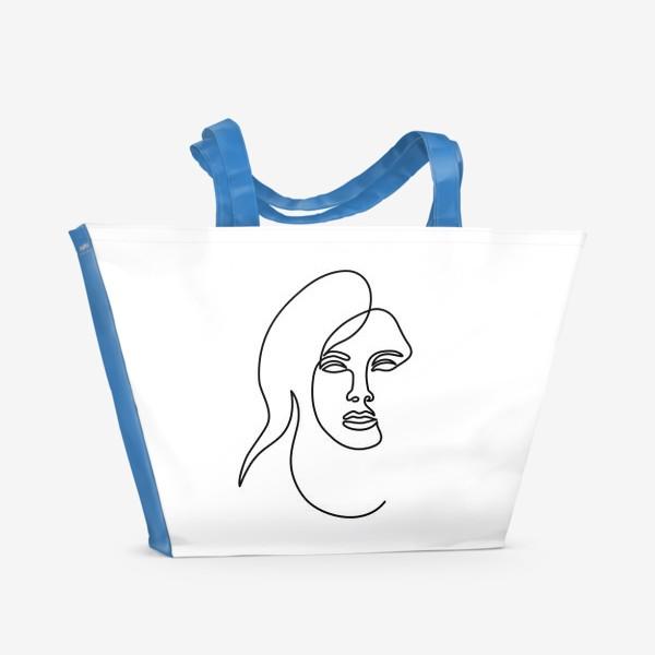 Пляжная сумка «Девушка. Одна линия»