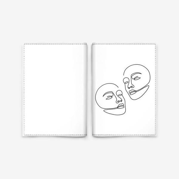 Обложка для паспорта «Лица одной линией»