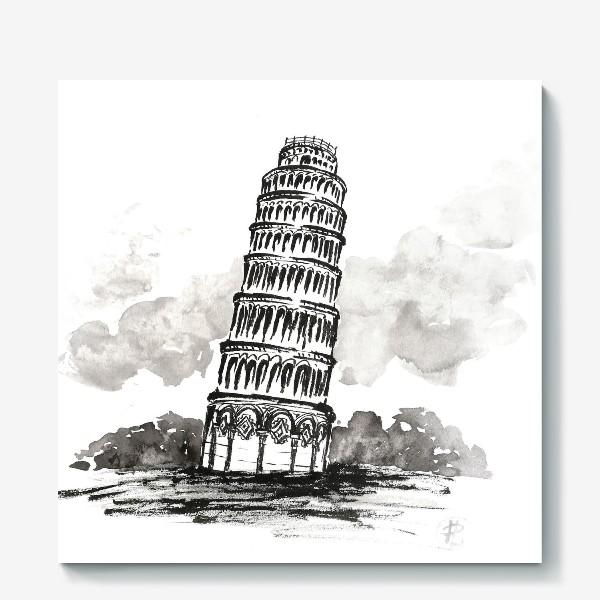 Холст «Пизанская башня. Черно-белая иллюстрация »