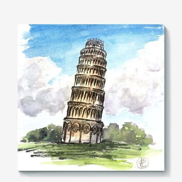 Холст «Пизанская башня. Цветная иллюстрация »