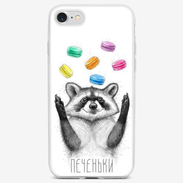 Чехол iPhone «Енот с печеньками»