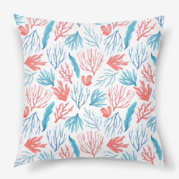 Подушка «Яркие кораллы и водоросли»