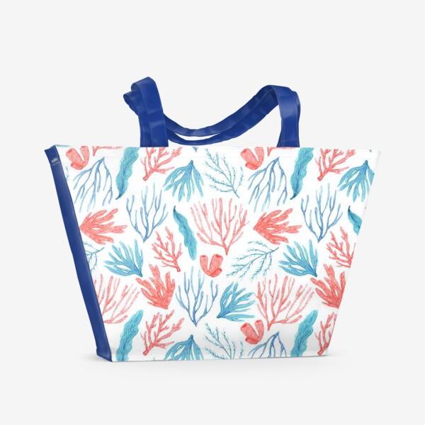 Пляжная сумка «Яркие кораллы и водоросли»