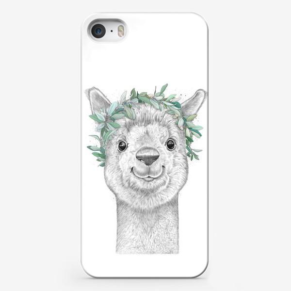 Чехол iPhone «Альпака с венком»