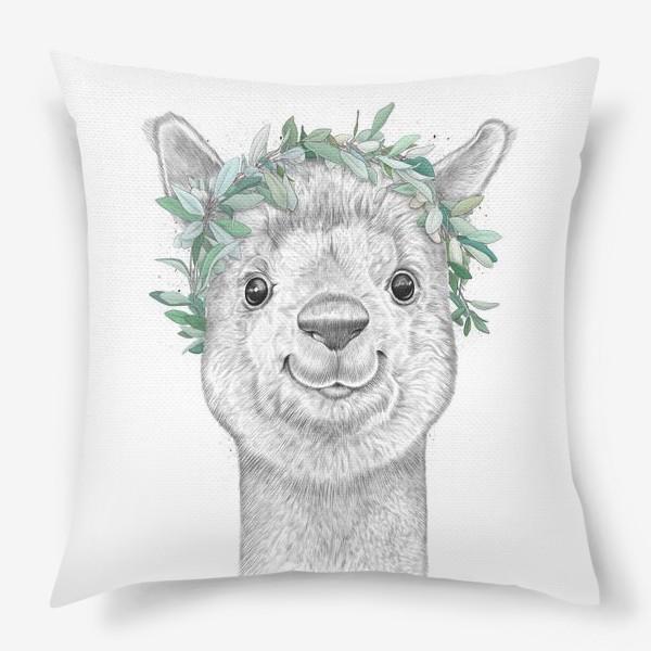 Подушка «Альпака с венком»