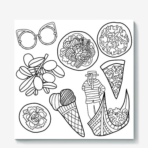 Холст «Итальянская расскраска. Очки, паста, пицца, оливки, равиоли, мороженое, гондольер на гондоле.»