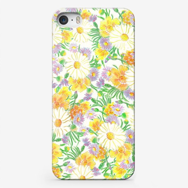 Чехол iPhone «Ромашки и полевые цветы. Пастель»