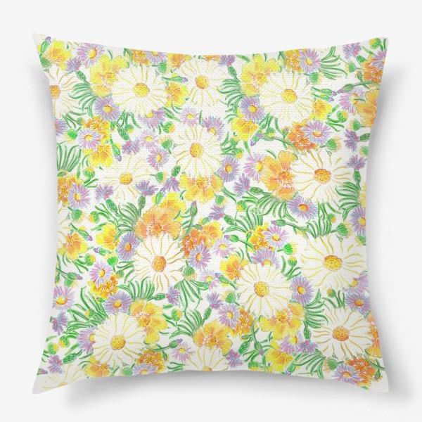 Подушка «Ромашки и полевые цветы. Пастель»