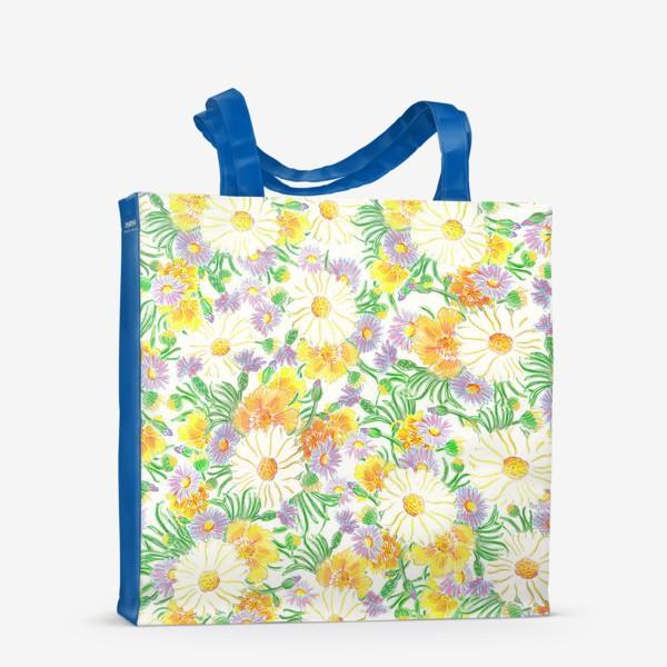 Сумка-шоппер «Ромашки и полевые цветы. Пастель»