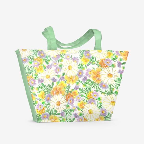 Пляжная сумка «Ромашки и полевые цветы. Пастель»