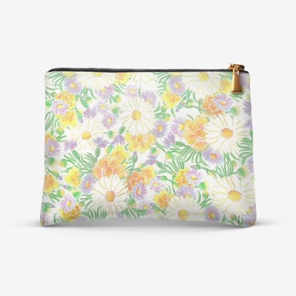 Косметичка «Ромашки и полевые цветы. Пастель»