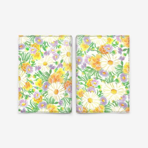 Обложка для паспорта «Ромашки и полевые цветы. Пастель»