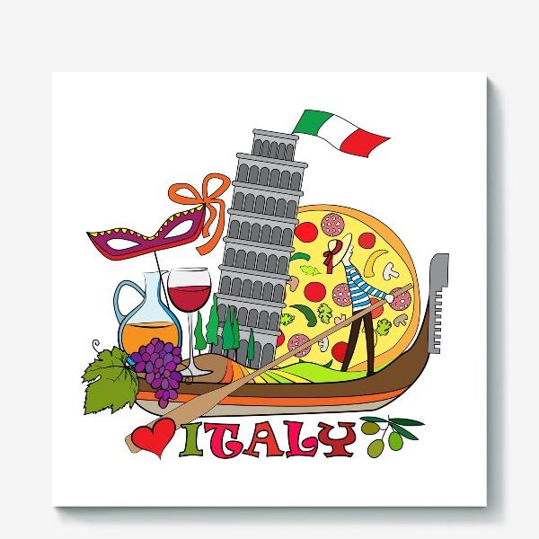 Холст «Итальянская Раскраска. Гондола, везущая на себе символы Италии. Раскраска»