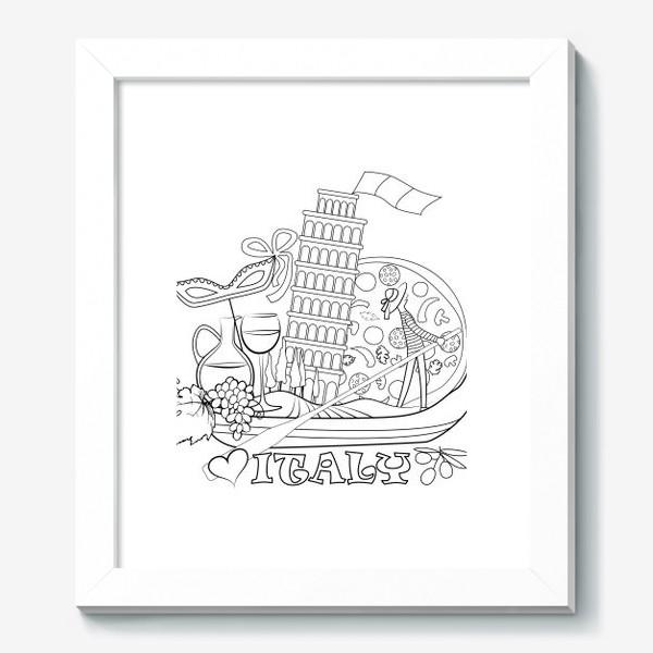 Картина «Итальянская Раскраска. Гондола, везущая на себе символы Италии. Раскраска»