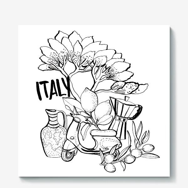 Холст «Вкусная Италия раскраска»