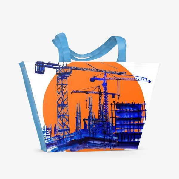 Пляжная сумка «Акварель в синих тонах, изображающая стройку и подьемные краны к Дню строителя»