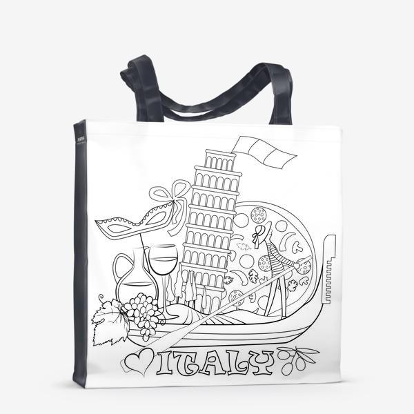 Сумка-шоппер «Итальянская Раскраска. Гондола, везущая на себе символы Италии. Раскраска»