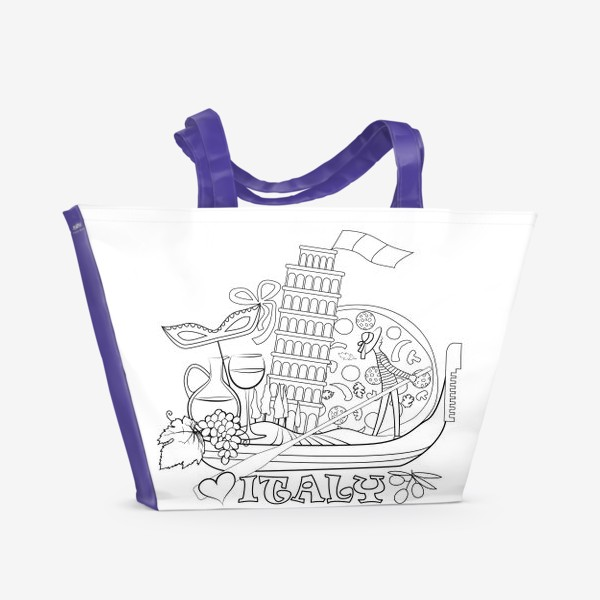Пляжная сумка «Итальянская Раскраска. Гондола, везущая на себе символы Италии. Раскраска»