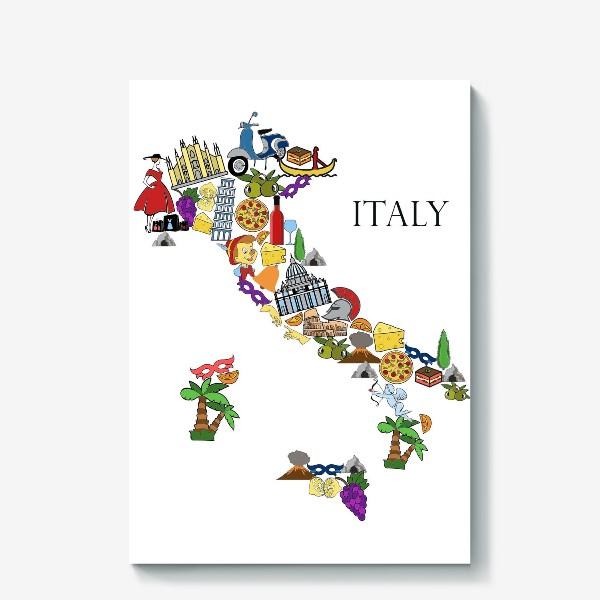 Холст «Карта Италии»