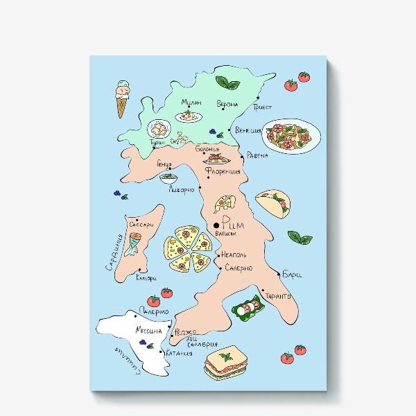 Холст «Карта Италии. Гид по еде»
