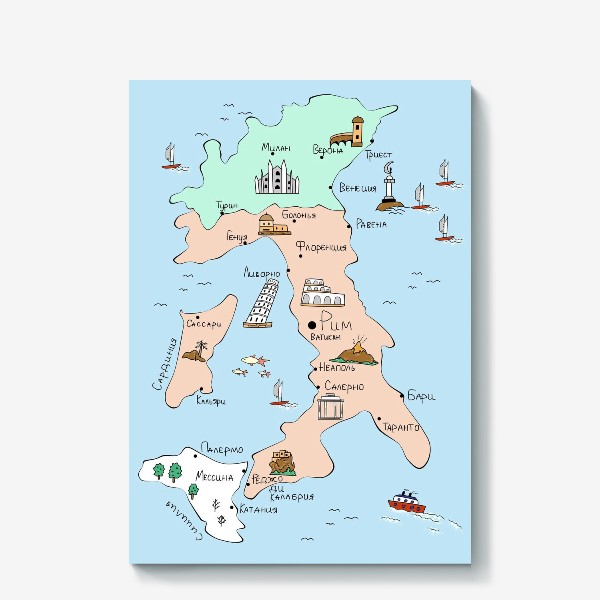Холст «Карта Италии. Достопримечательности»