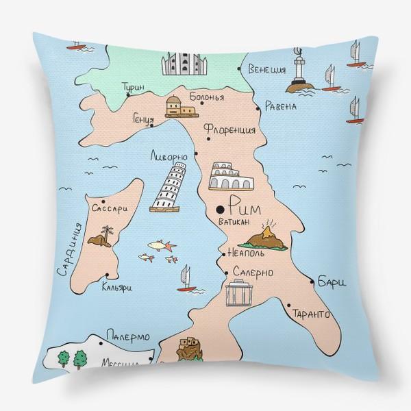 Подушка «Карта Италии. Достопримечательности»