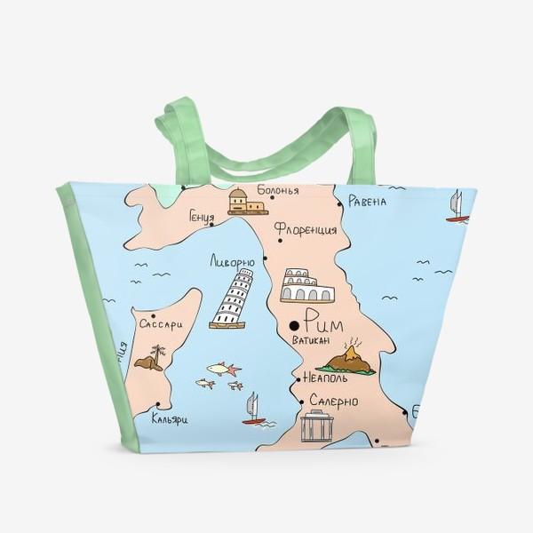 Пляжная сумка «Карта Италии. Достопримечательности»